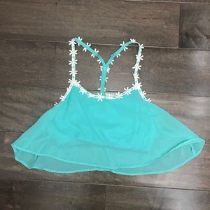 Teal Flower Crop Top 💠